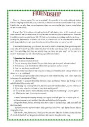 topic for speaking: Friendship - ESL worksheet by saodem102