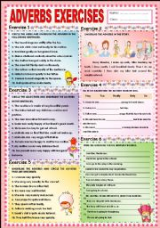 English Worksheets: Adverbs exercises (complete)