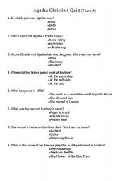 English Worksheet: Agatha Christie´s trivial pursuit parts1& 2.sxw