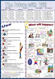 English Worksheet: The future with Will 1/2