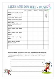 English worksheet: Likes and Dislikes - Music