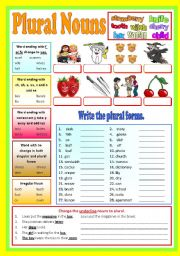 English Worksheet: Plural Nouns - (B/W & Keys)