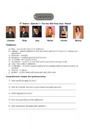 English Worksheet: Activity with TV Series Friends