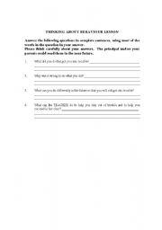 English Worksheets: behavior Plan