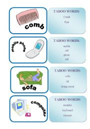 English Worksheets: TABOO WORDS GAME SET1