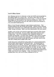 English Worksheets: Levi´s blue jeans