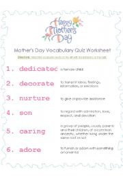 english worksheets mother s day vocabulary. Black Bedroom Furniture Sets. Home Design Ideas