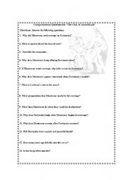 English Worksheets: Comprehension Questions for