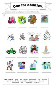 English Worksheets: Can for abilities