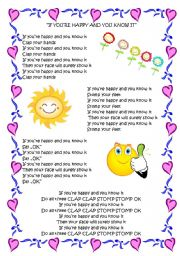 English Exercises If You Re Happy And You Know It