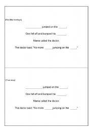 English Worksheet: Five little monkeys - Fill in the blanks