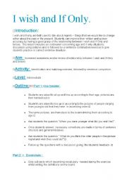 English Worksheet: I wish and if Only Lesson Plan