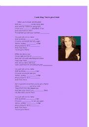 English Worksheet: Carole King: You´ve got a friend
