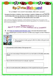 English Worksheets: Sport - Webquest about disabled athletes