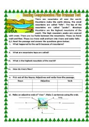 English Worksheets: Reading Comprehension Plus Grammar