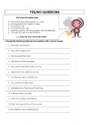 English Worksheet: yes/no questions