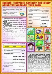 English Worksheets: Everybody, somebody, and anybody using the singular verb form