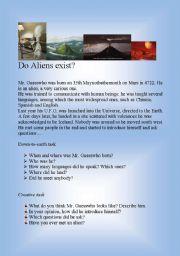 English Worksheet: Do Aliens Exist?