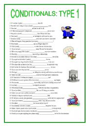 English Worksheet: conditionals type 1