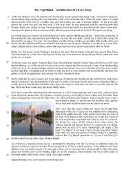 English Worksheet: The Taj Mahal - The architecture of a love story