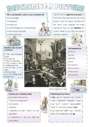 English worksheet: Describing a picture