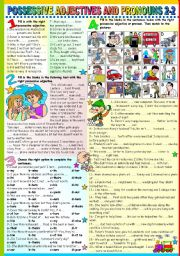 English Worksheet: POSSESSIVE ADJECTIVES AND PRONOUNS 2-2 (B&W VERSION+KEY INCLUDED)