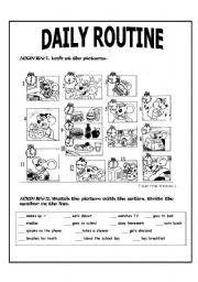 English Worksheet: MR. MOUSE DAILY ROUTINE (2 PAGES)