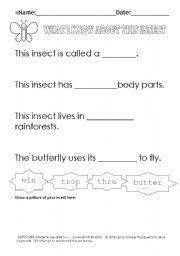English Worksheets: ButterflyCloze