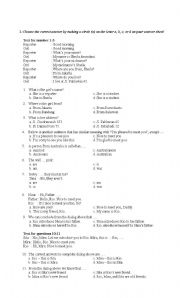 ESL worksheets for beginners: English Multiple Choice Test ... Multiple Choice Test Elementary