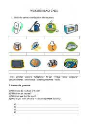 English worksheet: wonder machines