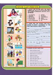 English Worksheet: FORTUNE-TELLER�S PREDICTION