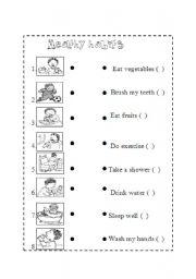 worksheet: Healty habits