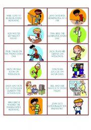 English Worksheets: action verbs - domino game