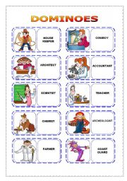 English Worksheets: OCCUPATIONS - dominoes (part 1)