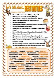 English Worksheet: LET�S TALK ABOUT FESTIVITIES (SPEAKING SERIES 14)