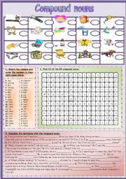 English Worksheets: Compound Nouns (editable + B&W version included)