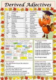 English Worksheets: Derived Adjectives