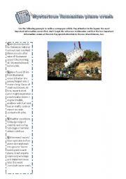 English Worksheets: Mysterious Romanian Plane Crash