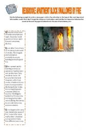 English Worksheets: Writing - Redbrooke apartment block swallowed by fire