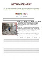 English Worksheet: Writing a News Report