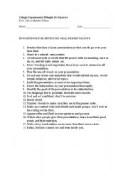 English Worksheets: SUGGESTIONS FOR EFFECTIVE ORAL PRESENTATIONS