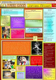 English Worksheets: I FEEL GOOD - JAMES BROWN - ONE PAGE - (FULLY EDITABLE)