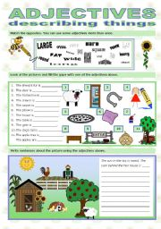 English Worksheet: ADJECTIVES DESCRIBING THINGS