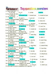 English Worksheets: tag-questions exercises