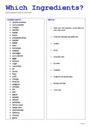 English Worksheets: Which Ingredients?