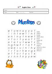 Numbers 1 to 50 - wordsearch