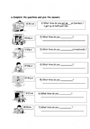 English Worksheet: daily routine yes/no questions