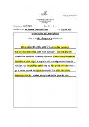 English Worksheets: Show Don�t Tell Sentences