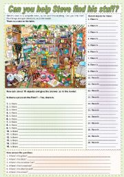 English Worksheet: Can you help Steve find his stuff? (there is + prepositions + to be) ***fully editable