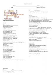 English Worksheet: Empire State of Mind - Song